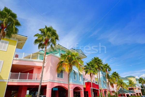 Флорида форт красочный пальмами США улице Сток-фото © lunamarina