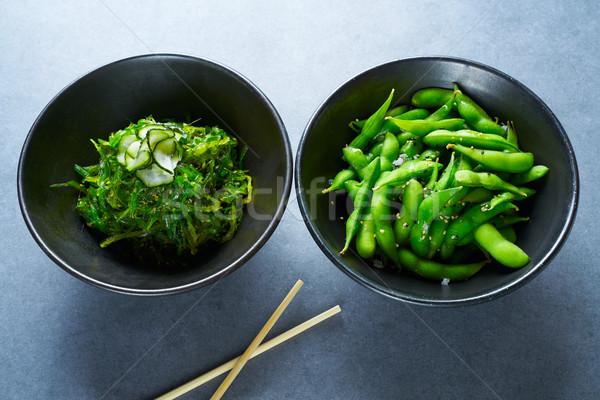 Edamame soya beans and Algae salad Stock photo © lunamarina