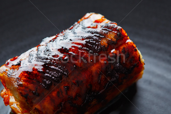 Stok fotoğraf: ızgara · füme · yılanbalığı · siyah · plaka · makro