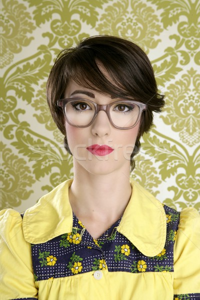 nerd woman retro portrait 70s wallpaper Stock photo © lunamarina