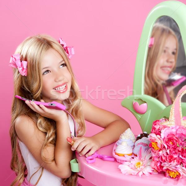 çocuklar moda bebek sarışın kız konuşma Stok fotoğraf © lunamarina