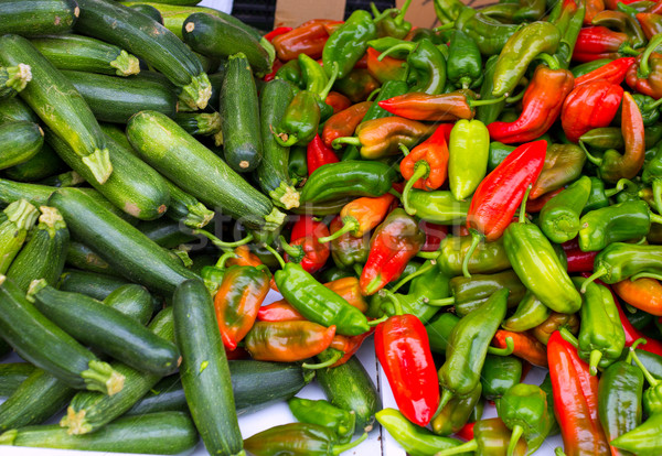 Stock photo: Colorful green and red peppers and zucchini