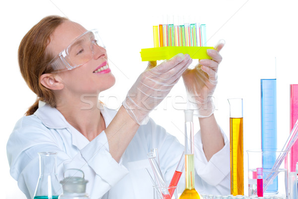 chemical laboratory scientist woman with test tube Stock photo © lunamarina