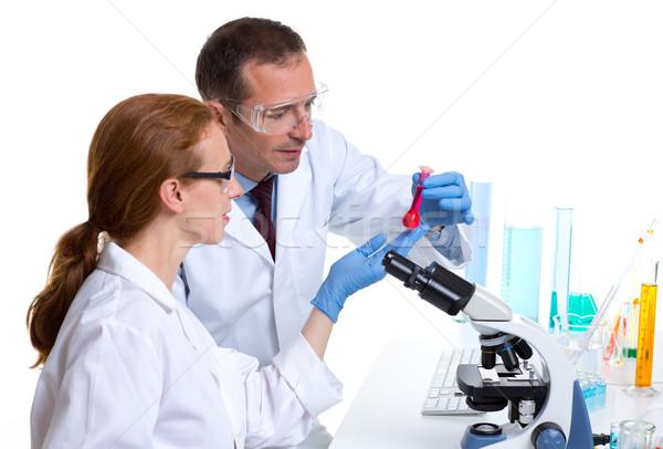 Foto d'archivio: Chimica · laboratorio · due · scienziato · lavoro · test