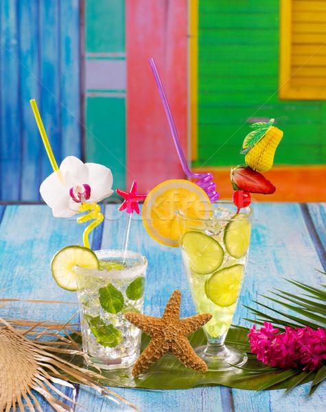 Mojito citroen kalk cocktails tropische Blauw Stockfoto © lunamarina