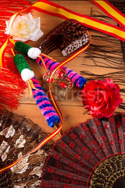 Spanyolország zászló rózsa ventillátor flamenco fésű Stock fotó © lunamarina