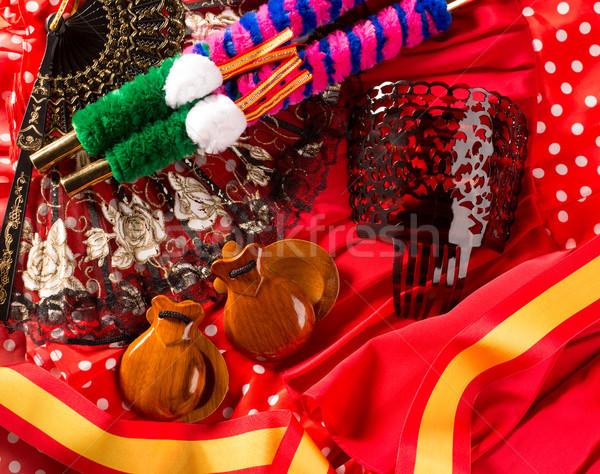 Tipik İspanya gül flamenko fan Stok fotoğraf © lunamarina