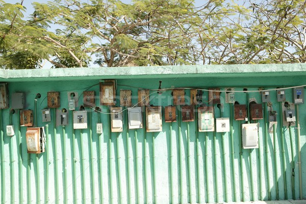 electricity meter wall in mexico outdoor green Stock photo © lunamarina