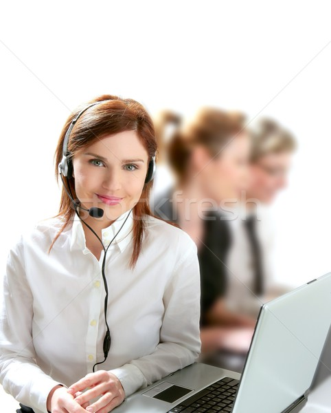Affaires helpdesk belle femme casque micro ordinateur Photo stock © lunamarina