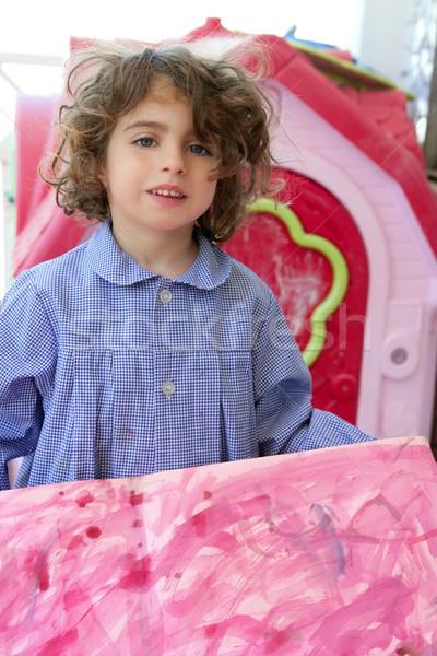 Belo pré-escolar estudante pequeno artista menina Foto stock © lunamarina