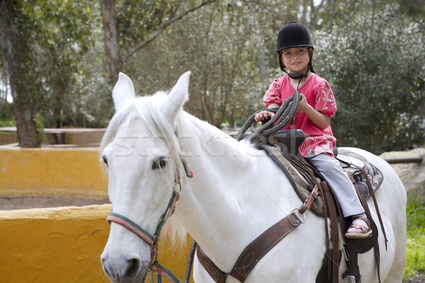 rider little girl jockey hat white horse in park Stock photo © lunamarina