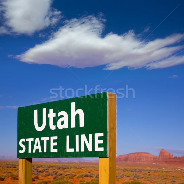 Placa sinalizadora Utah Arizona linha céu natureza Foto stock © lunamarina