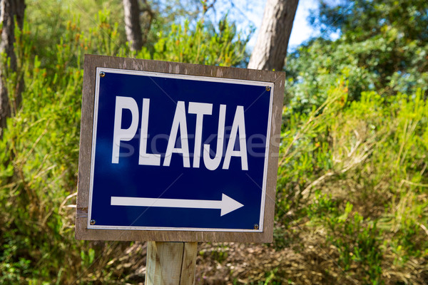 Menorca track blue sign with Platja or beach arrow Stock photo © lunamarina