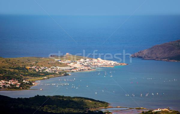 Menorca Fornells aerial view from Pico del Toro Stock photo © lunamarina