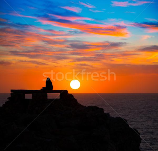 Ciutadella Menorca at Punta Nati sunset with girl Stock photo © lunamarina