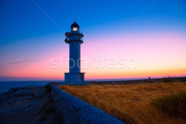 Formentera sunset in Barbaria cape lighthouse Stock photo © lunamarina