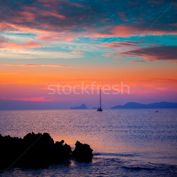 Ibiza sunset view from formentera Island Stock photo © lunamarina