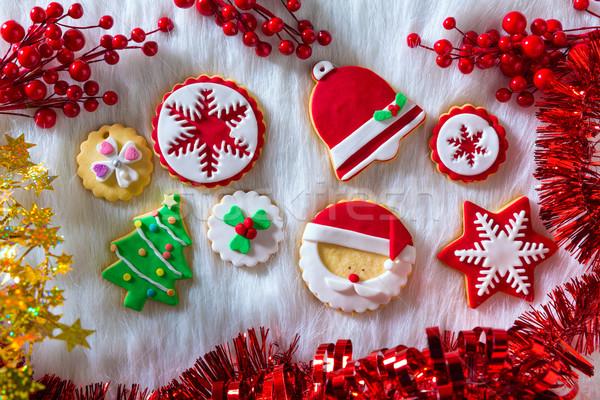 Christmas cookies kerstmis boom sneeuwvlok Stockfoto © lunamarina