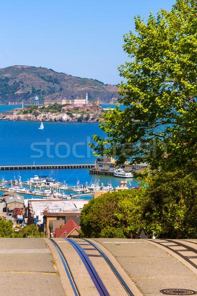 Stock photo: San francisco Hyde Street and Alcatraz island