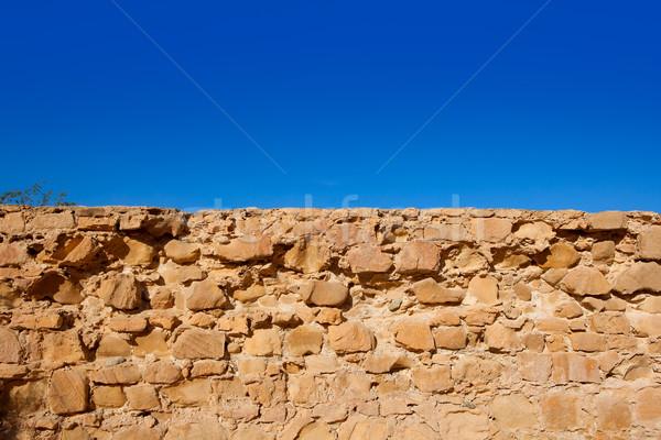île fort maçonnerie mur détail Espagne Photo stock © lunamarina