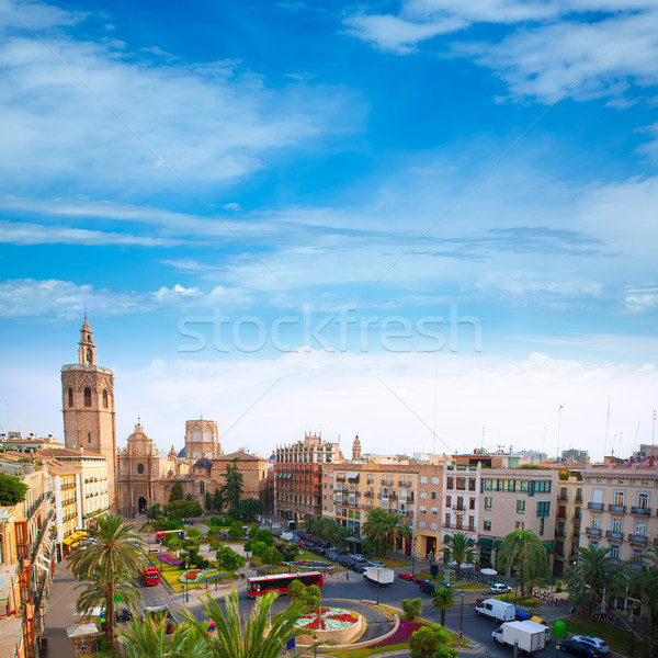 Valencia historic downtown El Miguelete and Cathedral Stock photo © lunamarina