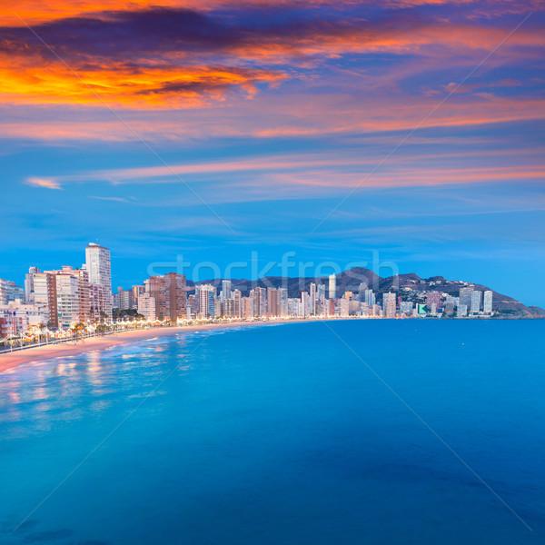 Benidorm sunset Alicante playa de Levante beach sunset in spain Stock photo © lunamarina
