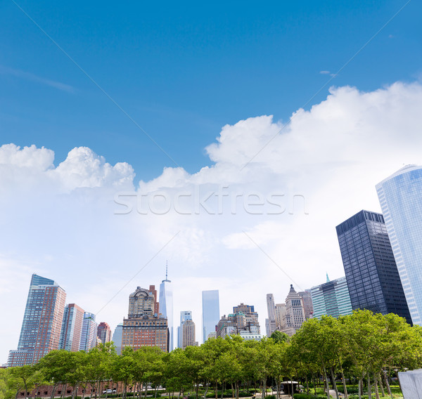 Senken manhattan New York Skyline Batterie Park Stock foto © lunamarina