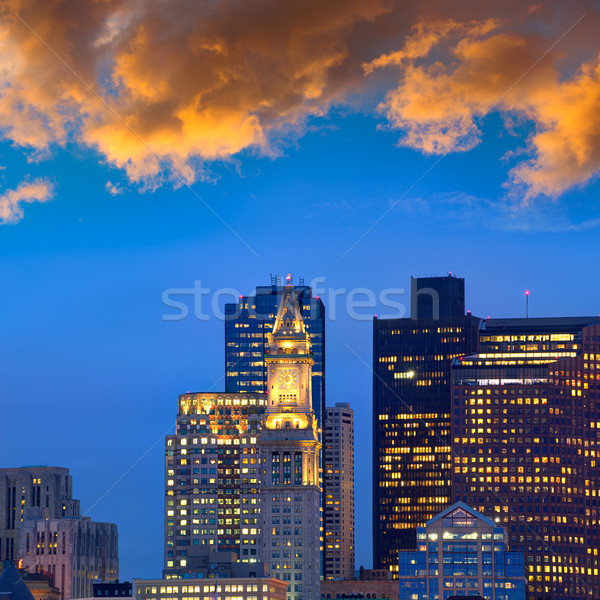 Бостон Skyline закат башни часы Сток-фото © lunamarina