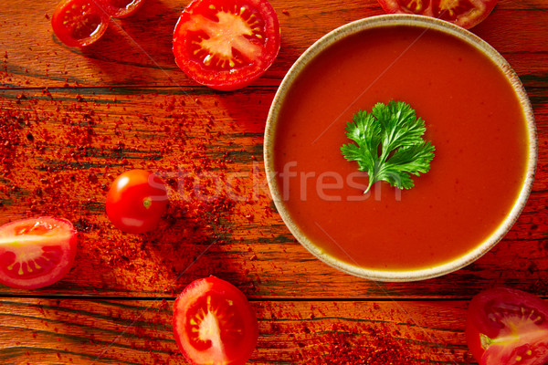 Andalusian gazpacho tomato sauce in red Stock photo © lunamarina