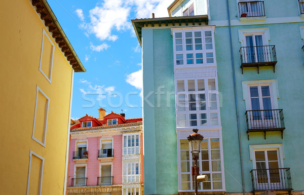 Burgos downtown colorful facades in Castilla Spain Stock photo © lunamarina