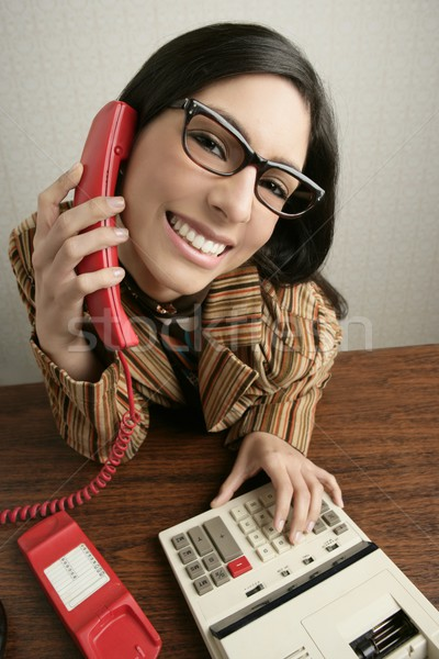 Retro secretary wide angle humor telephone woman Stock photo © lunamarina
