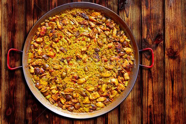 Paella from Spain rice Mediterranean recipe Stock photo © lunamarina