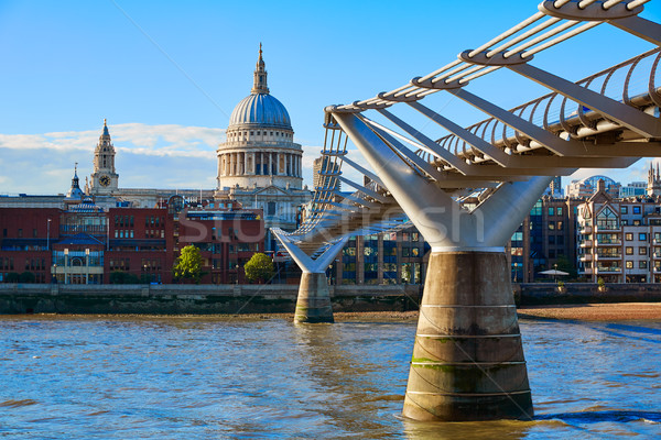 London St Paul Pauls cathedral from Millennium Stock photo © lunamarina