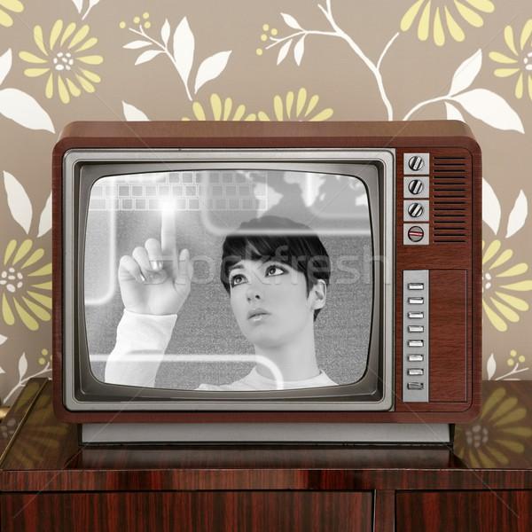 futuristic retro contrast vintage tv future woman Stock photo © lunamarina