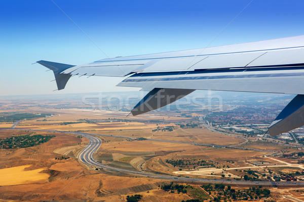 Foto stock: Avión · despegue · Madrid · España · dorado · trigo