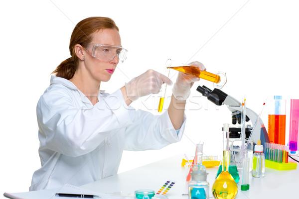 chemical laboratory scientist woman with test tube Stock photo © lunamarina
