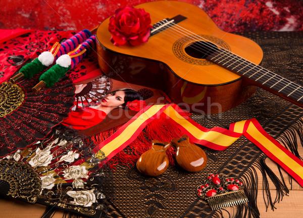 Espanhol guitarra flamenco elementos clássico pente Foto stock © lunamarina