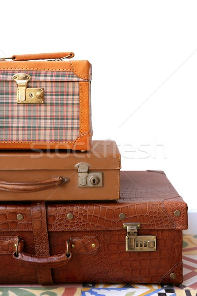 Aged old luggage leather vintage bags Stock photo © lunamarina