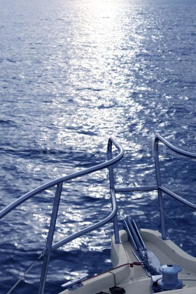 Sport motorcsónak íj kék tenger óceán Stock fotó © lunamarina
