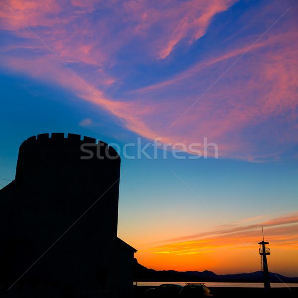 Zonsondergang strand Spanje middellandse zee landschap zomer Stockfoto © lunamarina