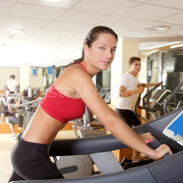 Gym treadmill running young woman interior Stock photo © lunamarina