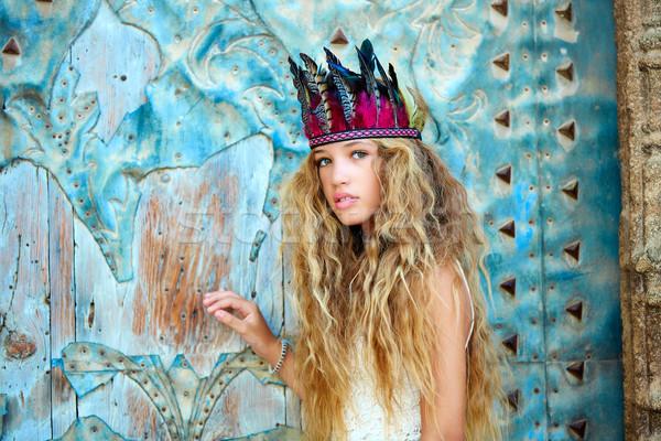 Blond teen girl tourist in Mediterranean old town Stock photo © lunamarina