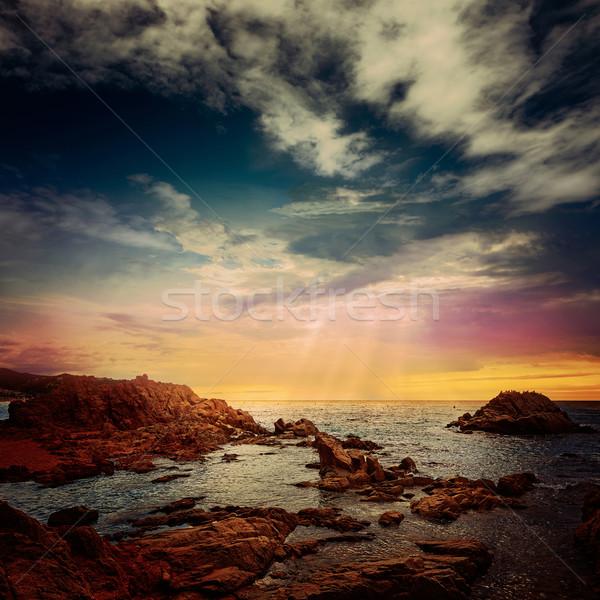 Lloret de Mar beach sunset in costa Brava Stock photo © lunamarina