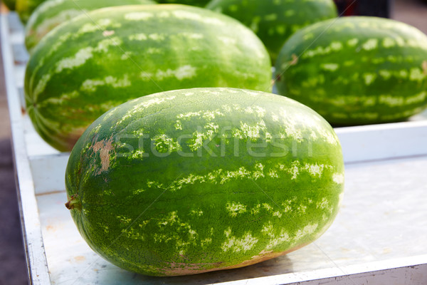 Watermelons in a marketplace in a row Stock photo © lunamarina