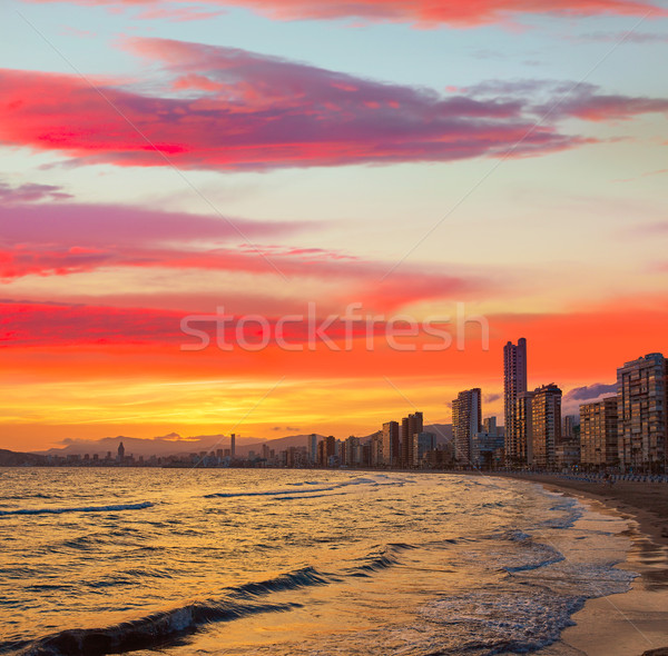 Benidorm skyline at sunset beach in Alicante Stock photo © lunamarina