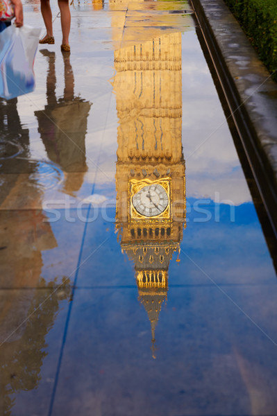Big Ben Clock Tower puddle reflection London Stock photo © lunamarina
