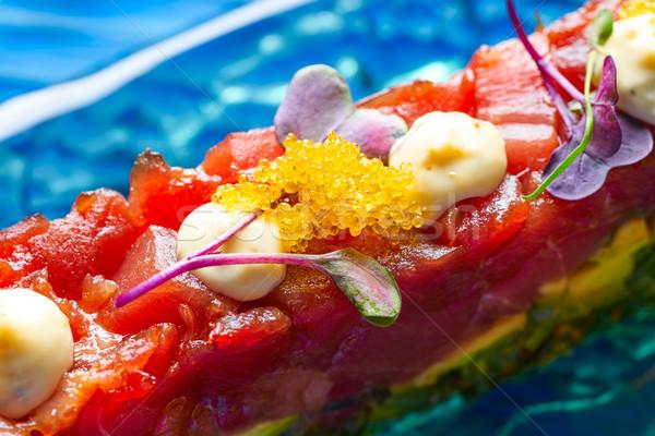 Tuna fish Tartare Tartar with wakame algae Stock photo © lunamarina