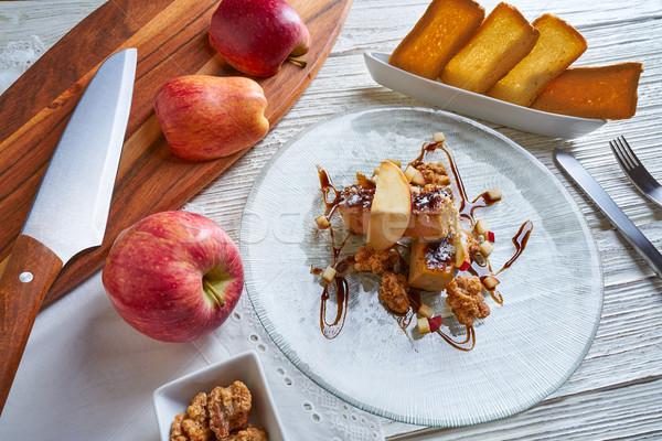 Fransız elma ekmek akşam yemeği plaka Stok fotoğraf © lunamarina