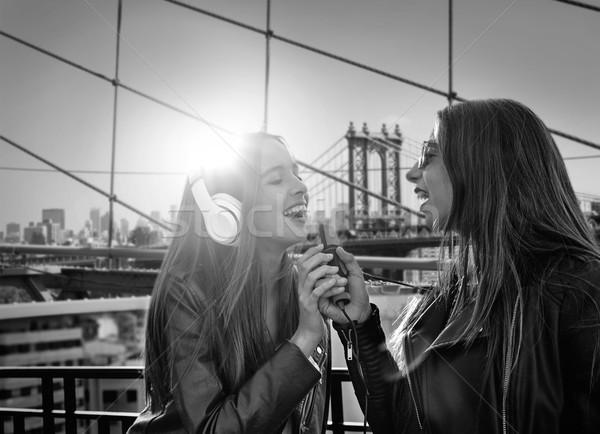 Lányok zenekar énekel New York legjobb barátok karaoke Stock fotó © lunamarina