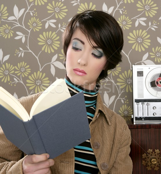 Könyv olvas nő retro régi tapéta szoba Stock fotó © lunamarina
